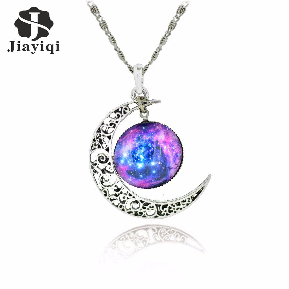 Galaxy Necklace Lovely Moon Galaxy Nebula Space Antique Necklace