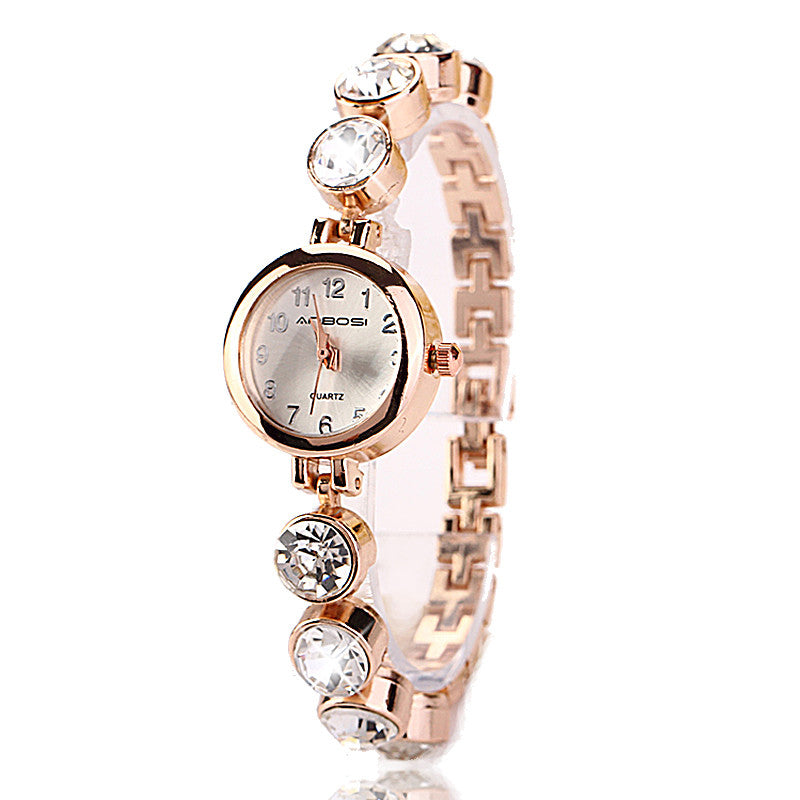 Cute Gold Plated Watch With crystals