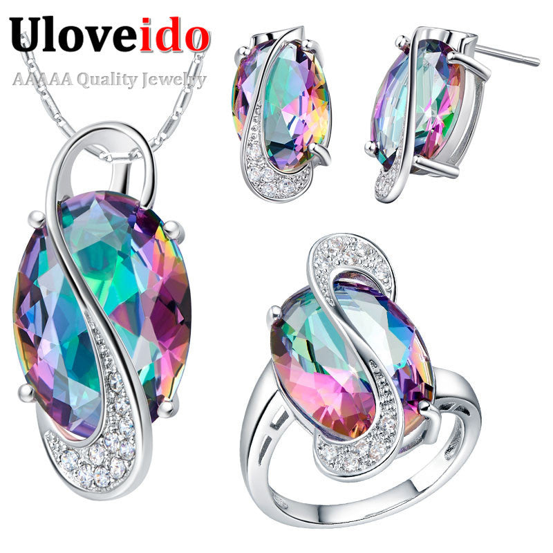 Pendant Earrings Ring Crystal 925 Sterling Silver Bijoux African Mystic Topaz Jewlery