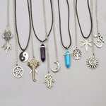 New fashion jewelry chain link crystal moon sun Elephant tree leaf pendant necklace mix design