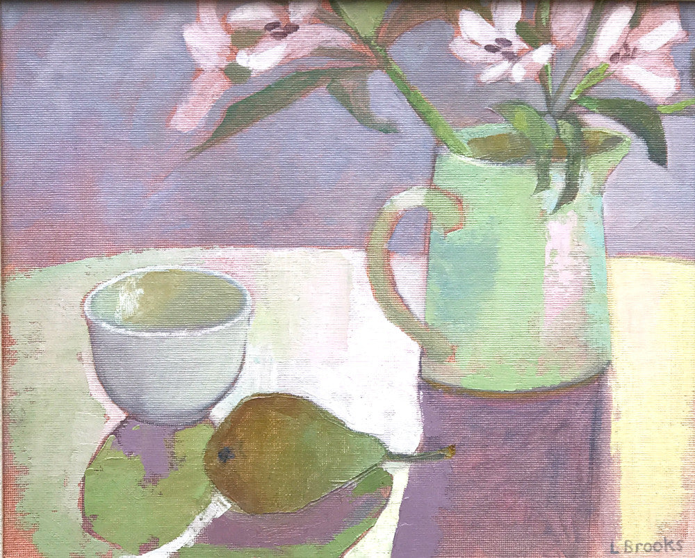 Alstromeria and Jug by Lesley Brooks