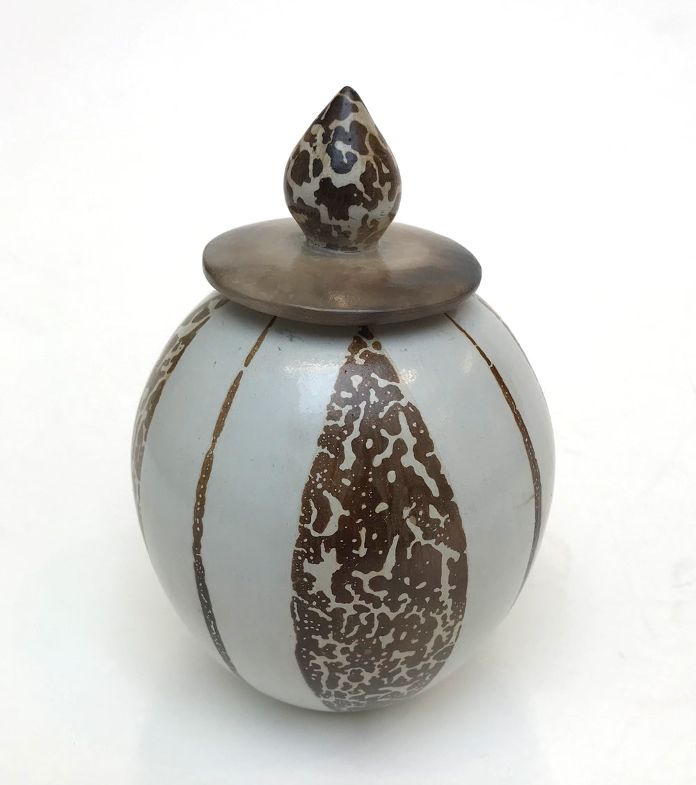 Lidded Jar with Masked Decoration by Sue Barton