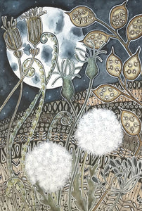 Moonlight Dandelions by Maria Boyd