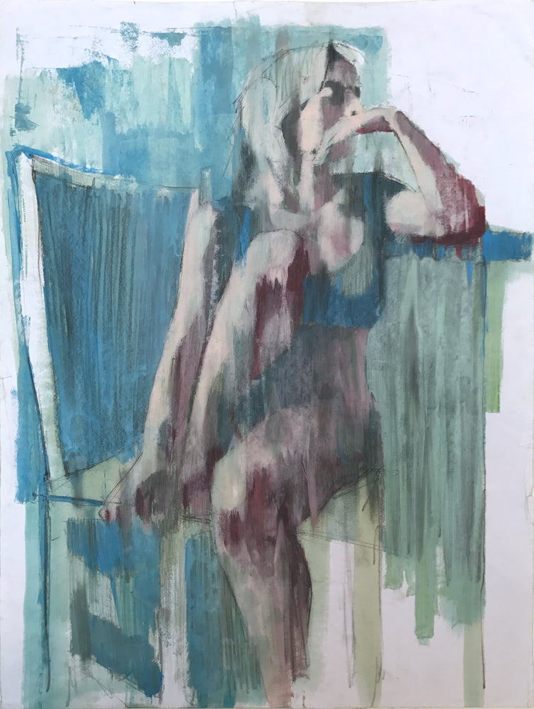 Nude with Red & Blue by Scott Bridgwood