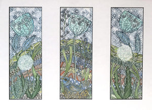 Bird on Nest (Triptych) by Maria Boyd