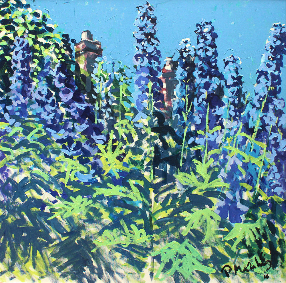 Chimneys and Delphiniums by Paul Meakins
