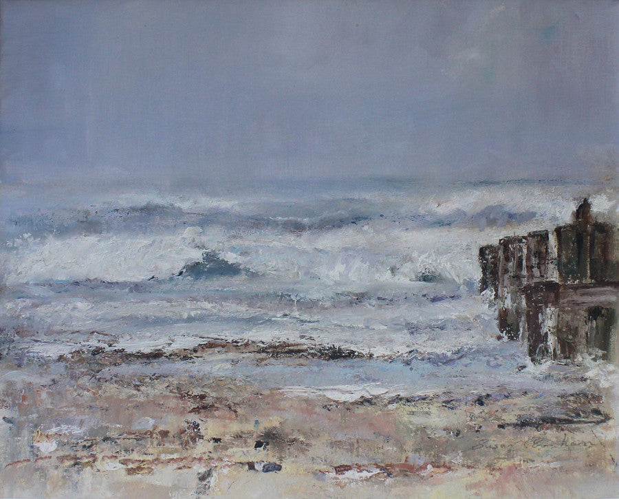 Crashing Waves Over the Groynes by Sue Graham