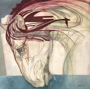 Equine Head Study in Red by Louise Ellerington