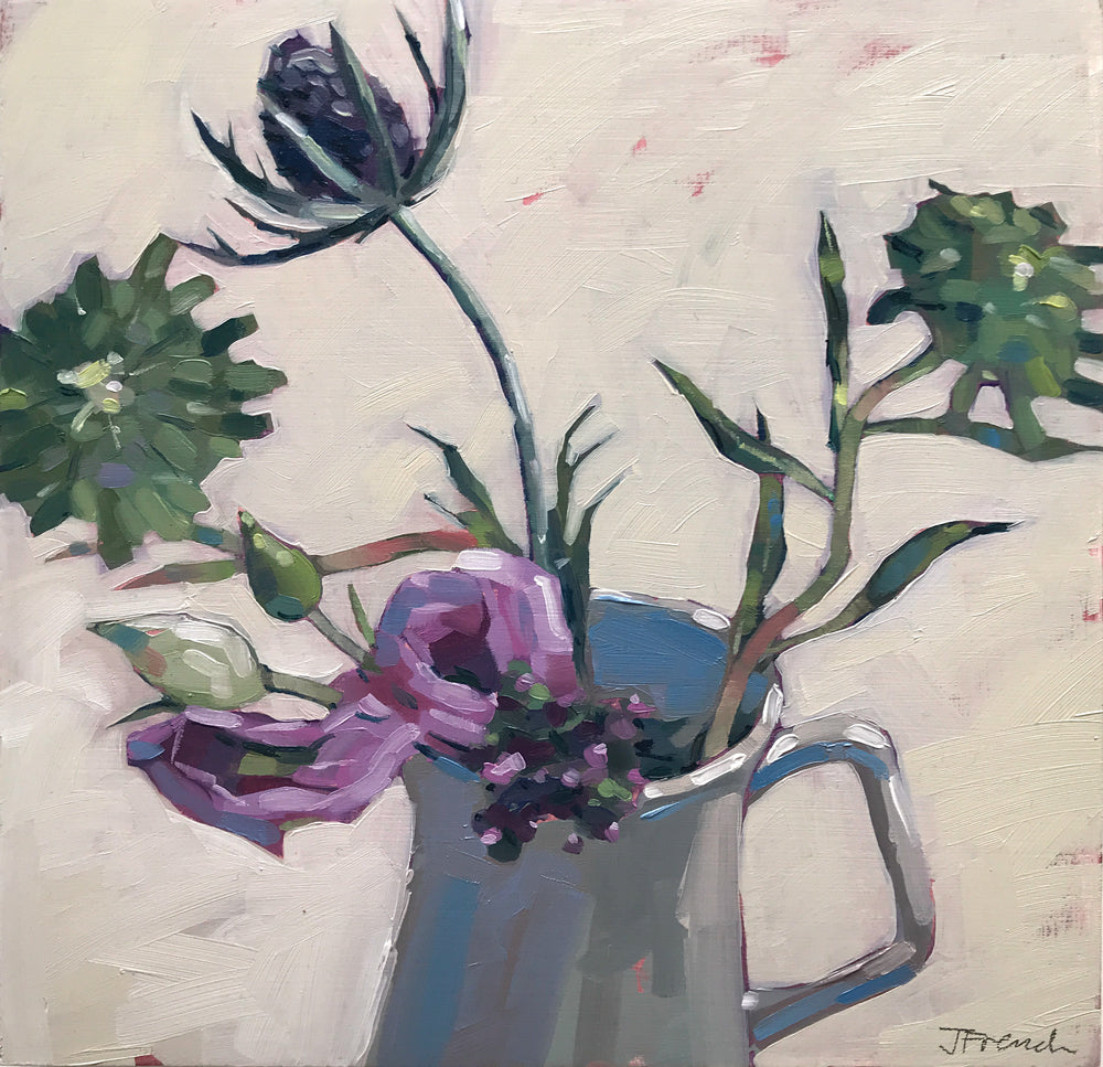 Lisianthus and Thistles by Jane French