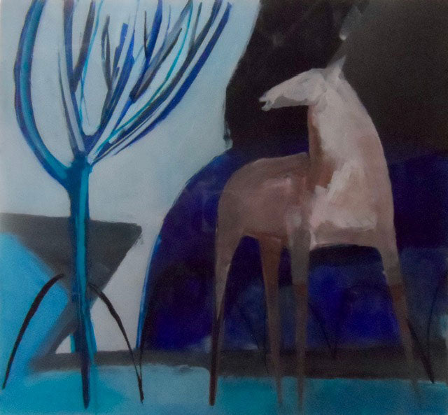 Horse with Blue Tree by Henrietta Corbett