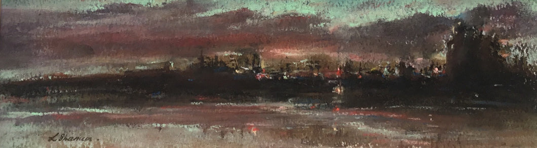 Evening Over Thames Docks by Linda Sharman