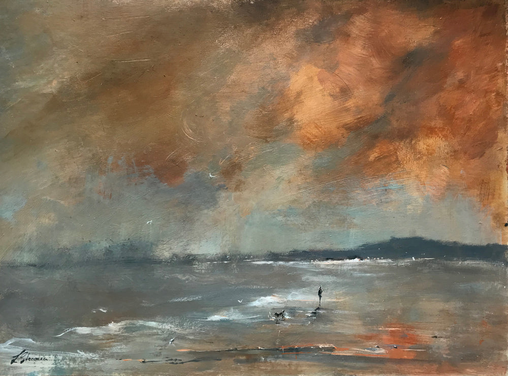Beach Walk Under Warm Heavy Clouds by Linda Sharman