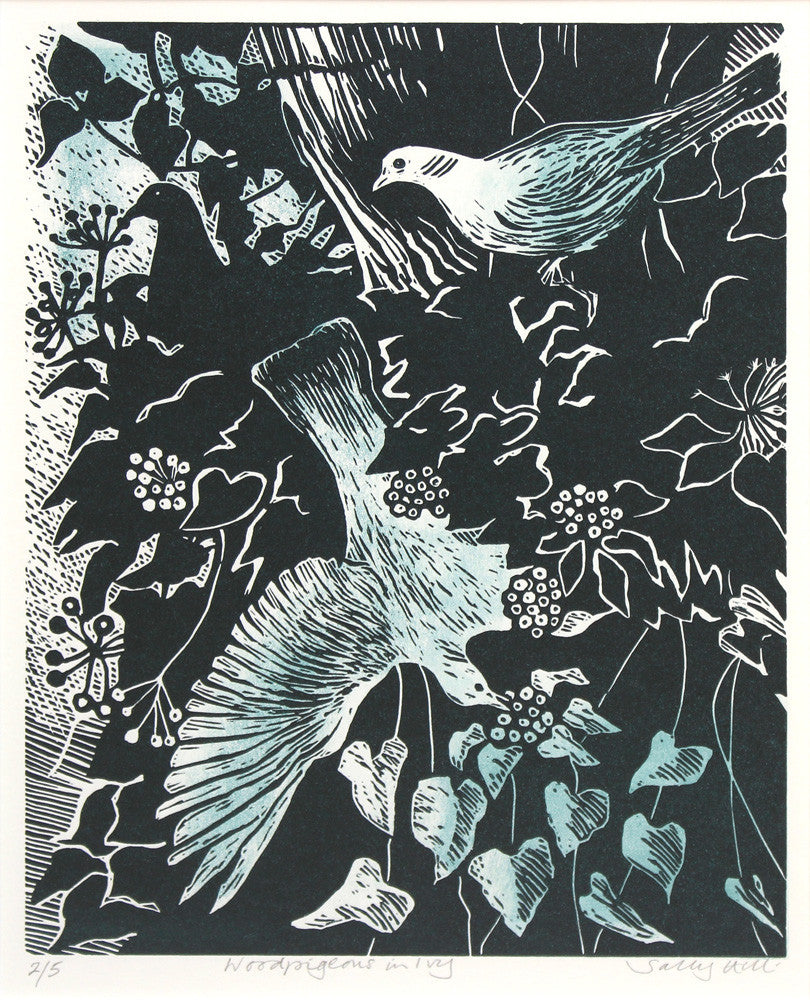 Woodpigeons in Ivy by Sally Hill