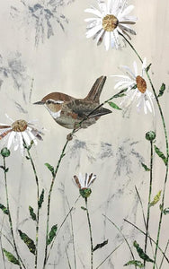 Wren and Daisies by Louise Wood