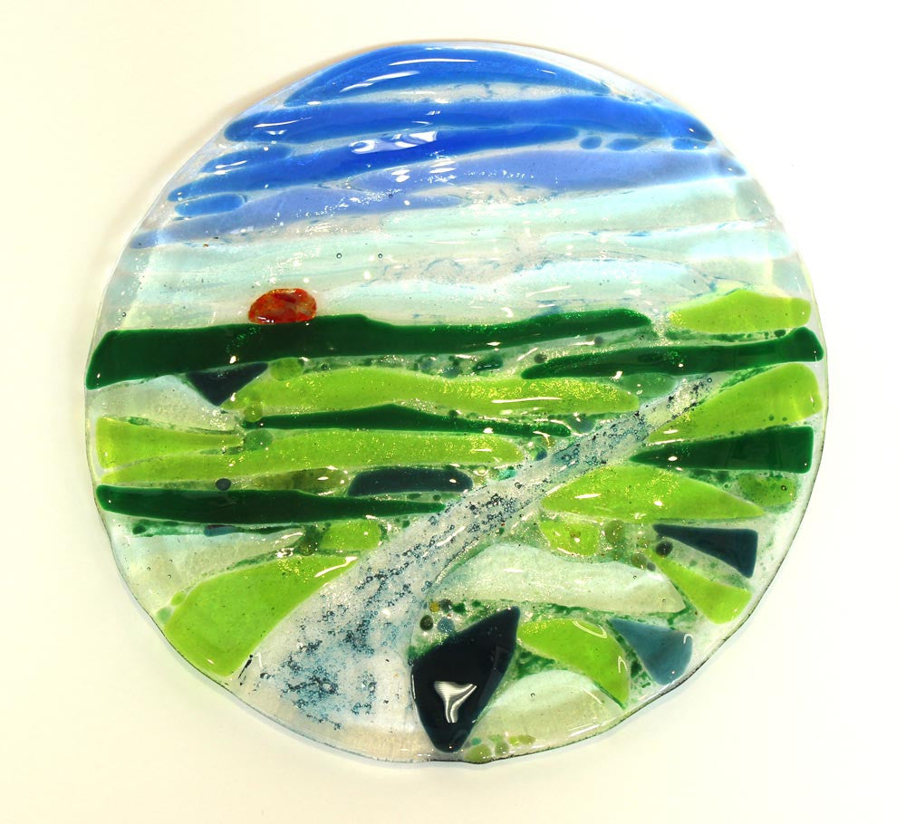 Large Circular Plate with landscape design by Kath Chalk