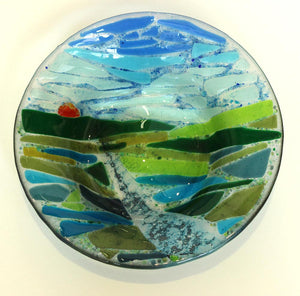 Medium sized bowl with landscape design by Kath Chalk