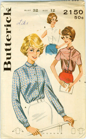 Butterick 2150 - Tailored Blouse, Long Sleeved or Sleeveless, with Horizontally Striped Yoke - Serendipity Vintage