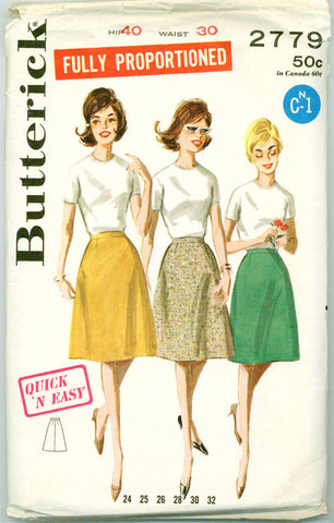 Butterick 2779 - 1960s Skirt in Tall, Medium, Petite Sizes - Serendipity Vintage