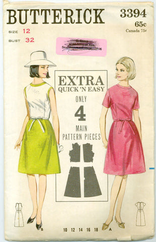 Butterick 3394 -1960s Extra Quick N' Easy Dress with A-Line Skirt - Serendipity Vintage