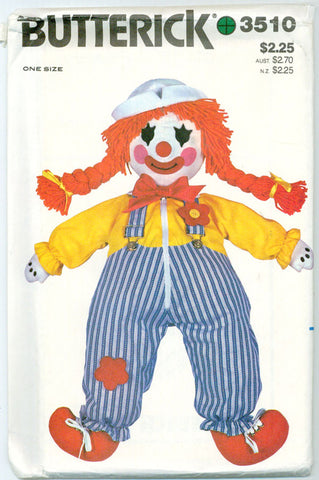 Butterick 3510 - Learning Clown Doll and Transfer - Serendipity Vintage