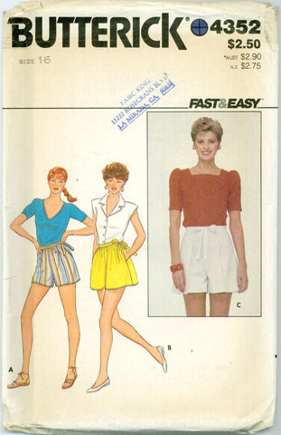 Butterick 4352 - Wrap or Pull On Shorts in Three Styles - Serendipity Vintage