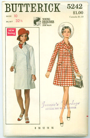 Butterick 5242 - 1960s Coat Dress Designed by Jean Muir - Serendipity Vintage