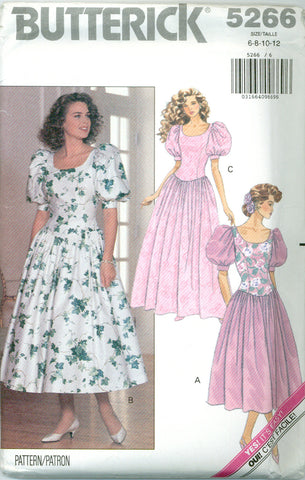 Butterick 5266 - Misses Petite Dropped Waist Dress - Serendipity Vintage