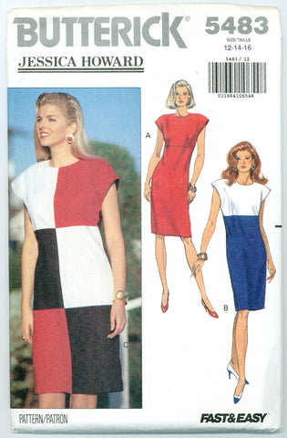Butterick 5483 - Jessica Howard Color Block or Contrast Dress - Serendipity Vintage