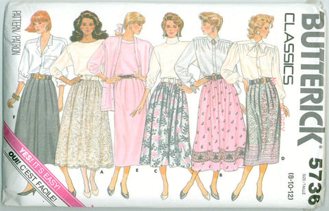 Butterick 5736 - Misses' A-Line Skirt with Five Variations - Serendipity Vintage
