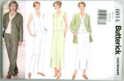 Butterick 6014 - Jacket, Princess Seamed Top and Skirt, Pants - Serendipity Vintage