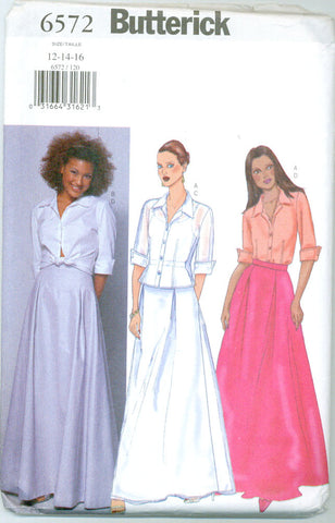 Butterick 6572 - Button-Up Evening Shirt and Long Flared Skirt - Serendipity Vintage