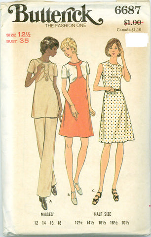 Butterick 6687-  A-Line Color Block Dress, Pants - Serendipity Vintage