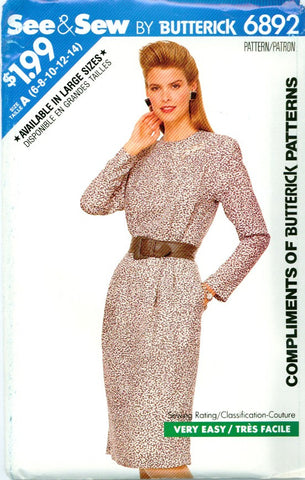 Butterick 6892 - Misses' Pleated Bodice Dress with Long Sleeves - Serendipity Vintage