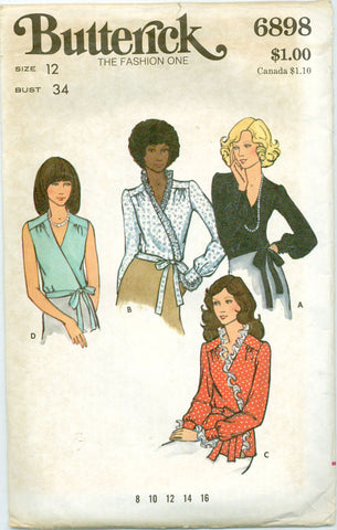 Butterick 6898 - Classic Wrap Blouse with Ties - Serendipity Vintage