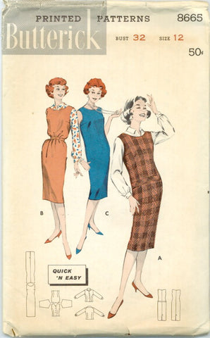 Butterick 8665 - CUT - 1950s Jumper and Shirtwaist Blouse - Serendipity Vintage