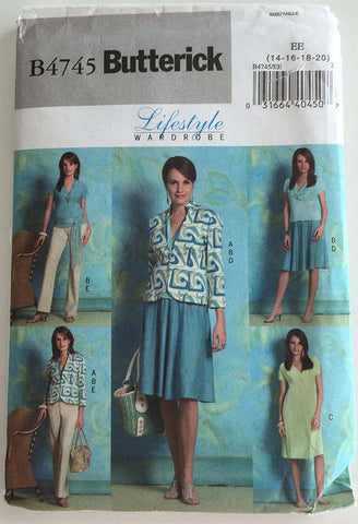 Butterick B4745 - Twist Front Top or Dress, and Jacket, Skirt, Pants - Serendipity Vintage