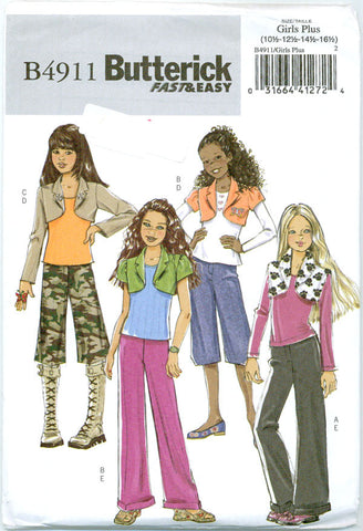 Butterick B4911 - Girls' Plus Size Shrug and Pants - Serendipity Vintage