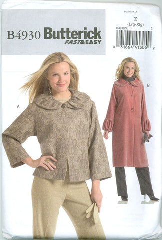 Butterick B4930 - Plus Size Ruffled Collar Jacket and Coat - Serendipity Vintage