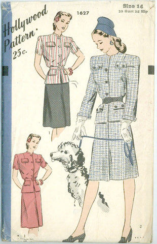 Hollywood 1627 - 1940s Two-piece Suit Dress with Peplum - Serendipity Vintage