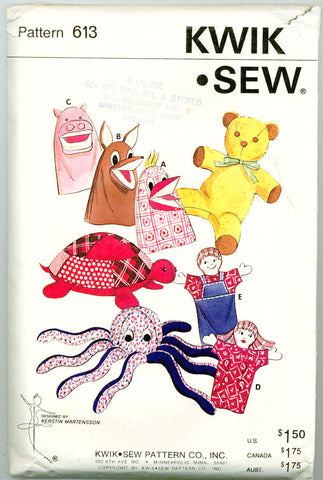 Kwik Sew 613 - Stuffed Animals and Hand Puppets - Octopus, Turtle, Teddy Bear, Hippo & more