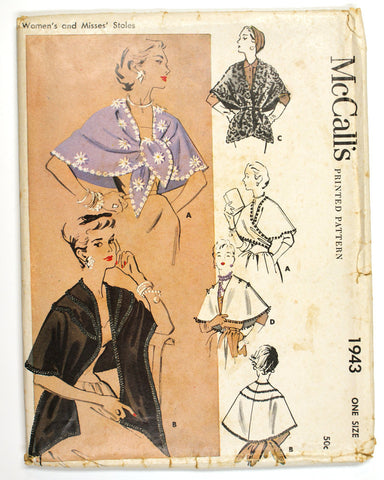 McCall's 1943 - 1950s Day or Evening Stoles, Wraps - Serendipity Vintage