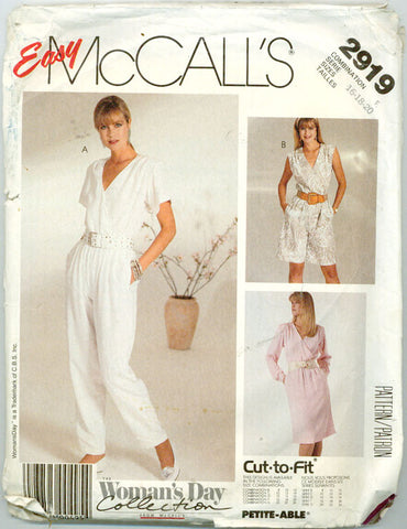 McCalls 2919 - 80s Mock-Wrap Dress or Jumpsuit - Serendipity Vintage