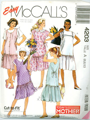 McCall's 4203 - Maternity Dropped Waist Dress and Jumper - Serendipity Vintage
