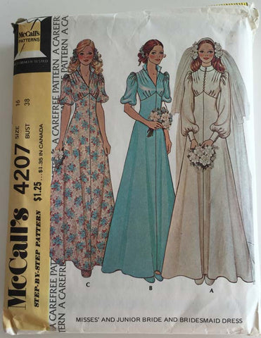 McCalls 4207 - 1940s Retro Style Wedding and Bridesmaid Dresses - Serendipity Vintage