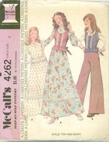 McCall's 4262 - Girls' Ruffled Top and Long Skirt - Serendipity Vintage