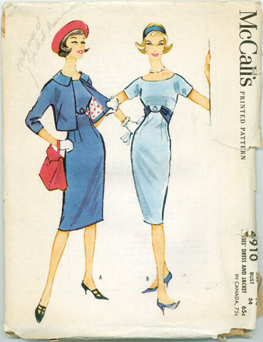 McCalls 4910 - High Waist Sheath Wiggle Dress, Bias Belt, Jacket - Serendipity Vintage