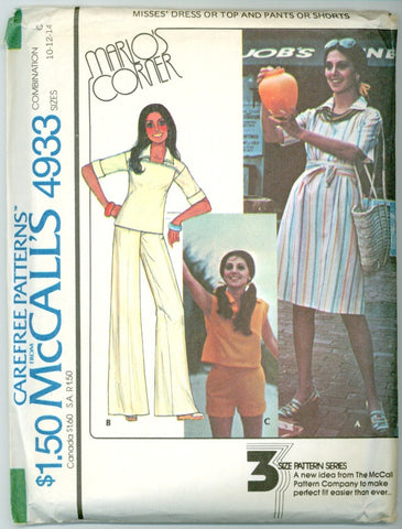 McCall's 4933 -  Marlo's Corner - Dress, Top,  Pants, Shorts designed by Marlo Thomas - Serendipity Vintage