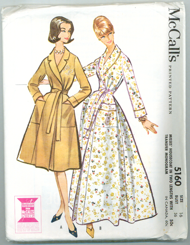 McCalls 5160 - Wrap-around Housecoat in Two Lengths with Transfer - Serendipity Vintage