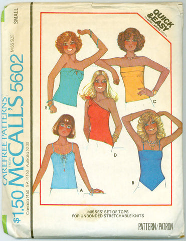 McCalls 5602 - Five Knit Tops - Strapless, Tie at One Shoulder, Spaghetti Straps - Serendipity Vintage