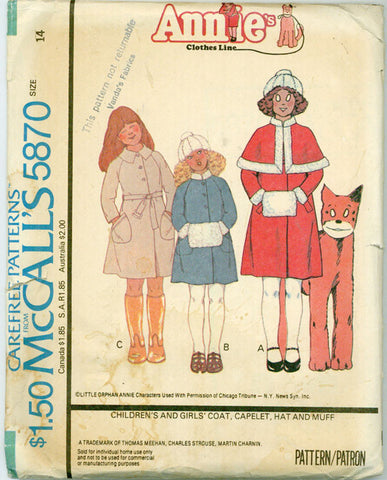 McCalls 5870 - Annie's Clothes Line Girl's Coat, Capelet, Hat & Muff - Serendipity Vintage